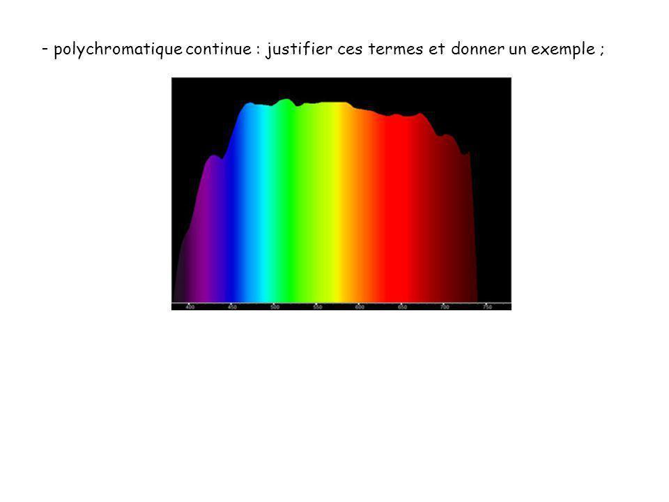 - polychromatique continue : justifier ces termes et donner un exemple ;