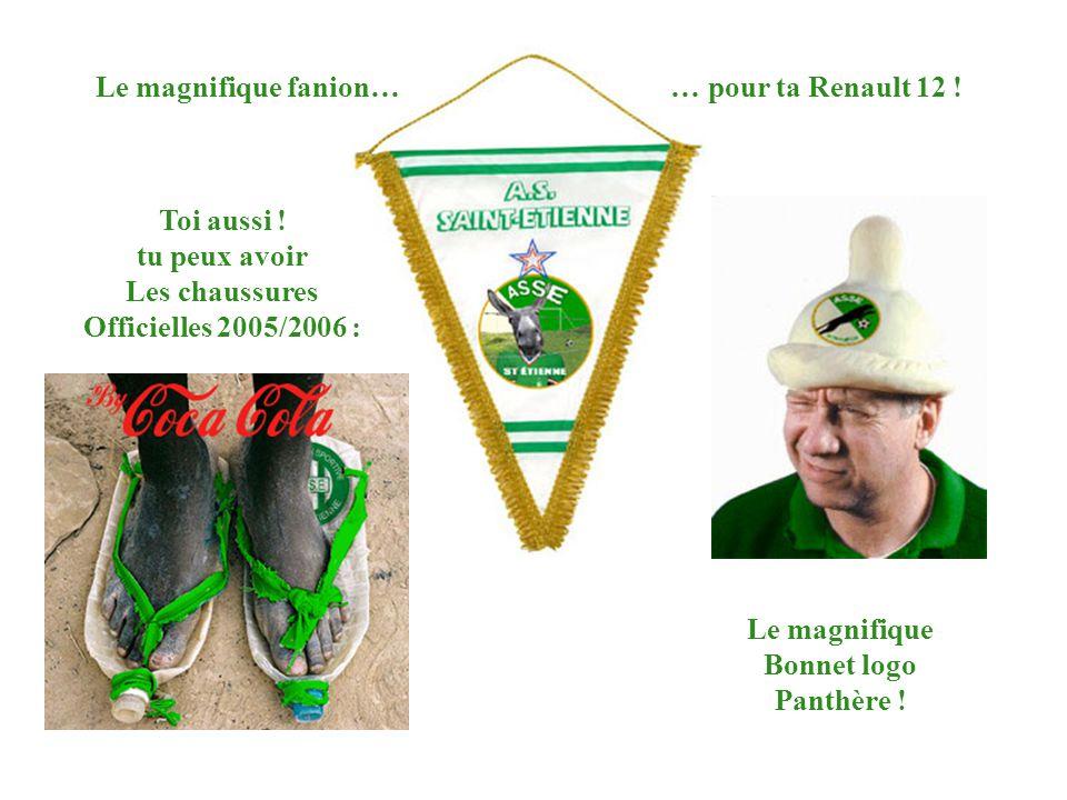 Le magnifique Bonnet logo Panthère ! Toi aussi ! tu peux avoir Les chaussures Officielles 2005/2006 : Le magnifique fanion… … pour ta Renault 12 !