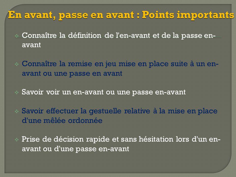 En avant, passe en avant : Points importants  Connaître la définition de l'en-avant et de la passe en- avant  Connaître la remise en jeu mise en pla