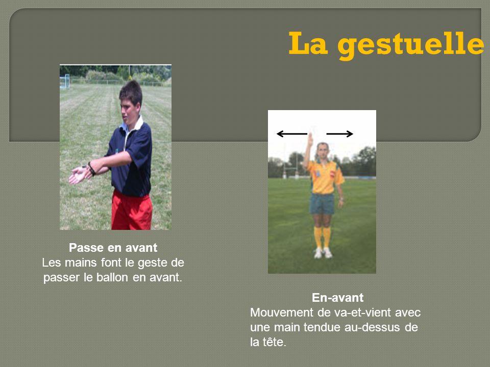 La gestuelle Passe en avant Les mains font le geste de passer le ballon en avant. En-avant Mouvement de va-et-vient avec une main tendue au-dessus de