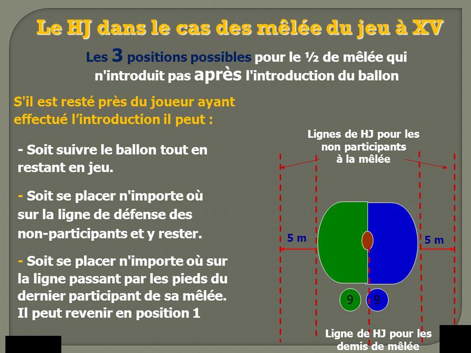 S'il est resté près du joueur ayant effectué l'introduction il peut : 9 Lignes de HJ pour les non participants à la mêlée 9 5 m - Soit suivre le ballo