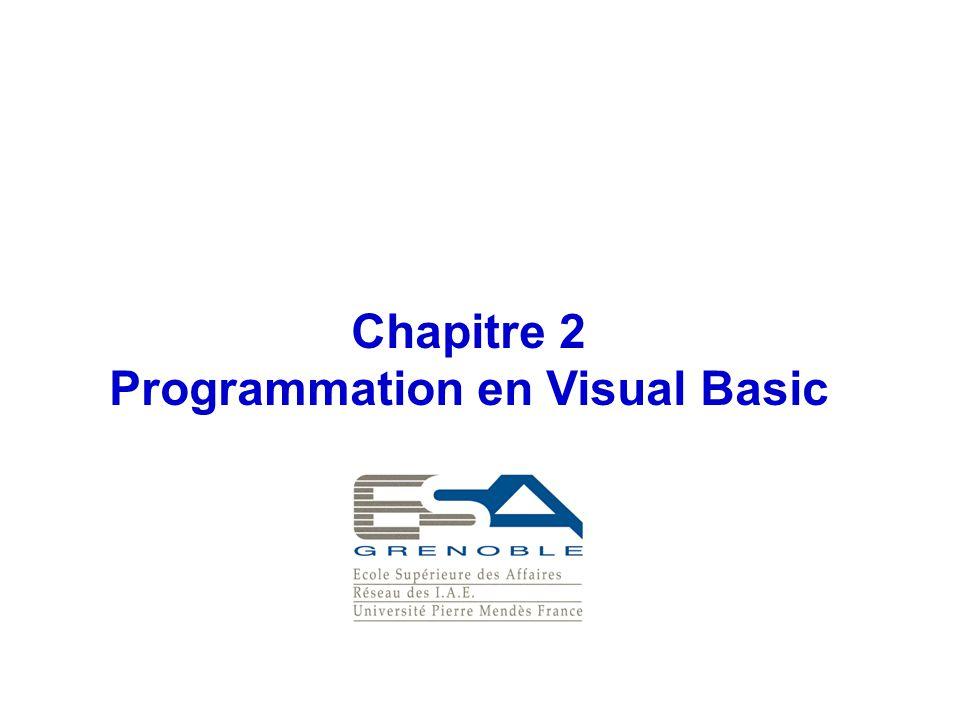 Chapitre 2 Programmation en Visual Basic