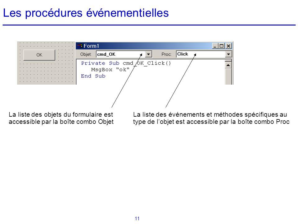 11 Les procédures événementielles La liste des objets du formulaire est accessible par la boîte combo Objet La liste des événements et méthodes spécif