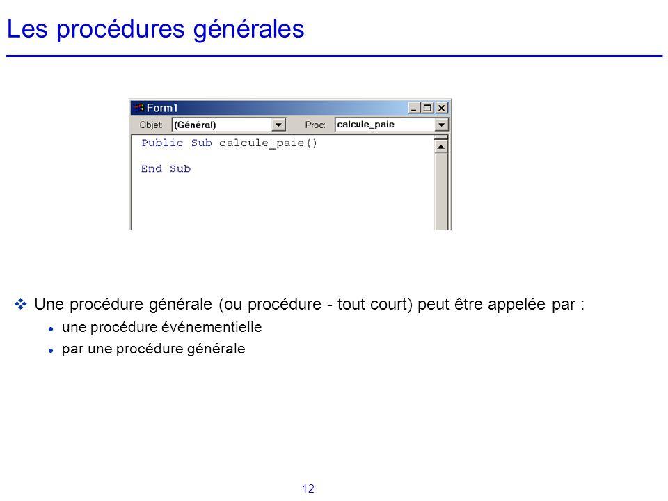 12 Les procédures générales  Une procédure générale (ou procédure - tout court) peut être appelée par : une procédure événementielle par une procédur