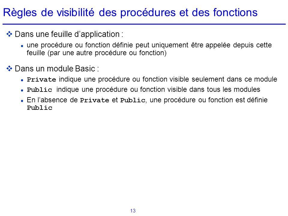 13 Règles de visibilité des procédures et des fonctions  Dans une feuille d'application : une procédure ou fonction définie peut uniquement être appe