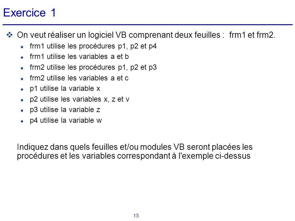 15 Exercice 1  On veut réaliser un logiciel VB comprenant deux feuilles : frm1 et frm2. frm1 utilise les procédures p1, p2 et p4 frm1 utilise les var