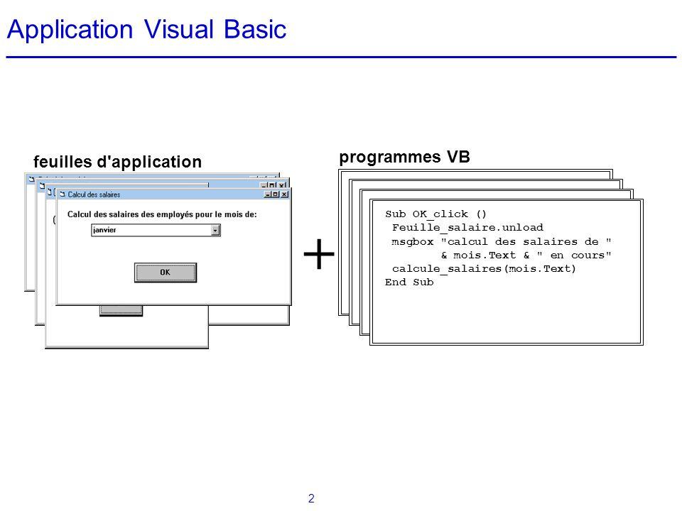 3 Passage de l algorithmique à Visual Basic  Le passage de l algorithmique à la programmation en Visual Basic est réalisé en deux étapes: Transformation du lexique en une série de déclarations Visual Basic Transformation des algorithmes en un programme Visual Basic