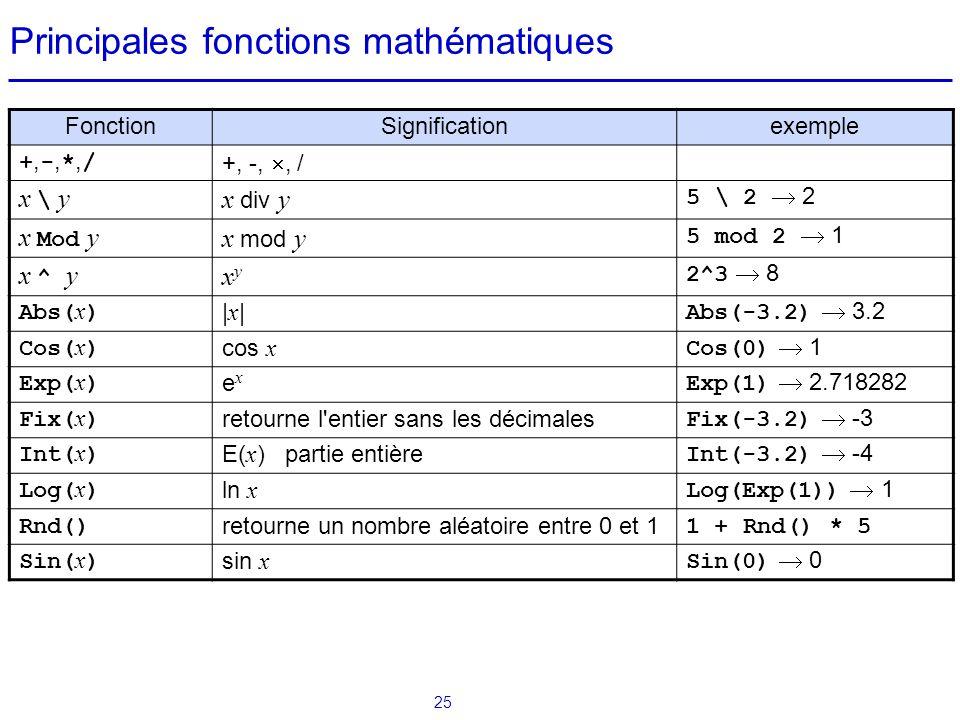 25 Principales fonctions mathématiques FonctionSignificationexemple +,-,*,/+,-,*,/ +, -, , / x \ y x div y 5 \ 2  2 x Mod y x mod y 5 mod 2  1 x ^