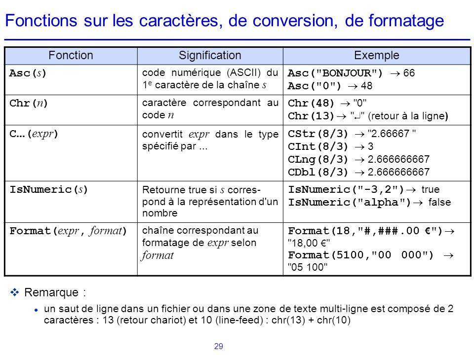 29 Fonctions sur les caractères, de conversion, de formatage FonctionSignificationExemple Asc( s ) code numérique (ASCII) du 1 e caractère de la chaîn