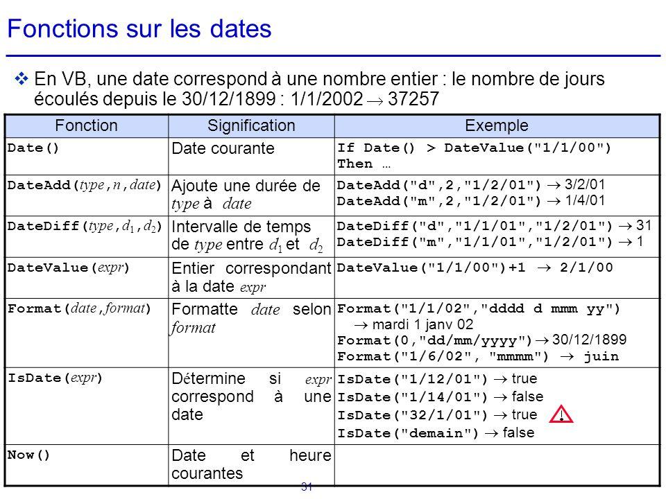 31 Fonctions sur les dates  En VB, une date correspond à une nombre entier : le nombre de jours écoulés depuis le 30/12/1899 : 1/1/2002  37257 Fonct