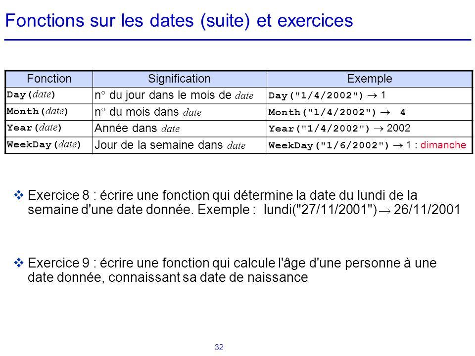 32 Fonctions sur les dates (suite) et exercices  Exercice 8 : écrire une fonction qui détermine la date du lundi de la semaine d'une date donnée. Exe