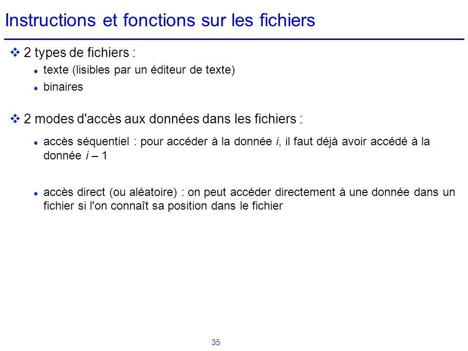 35 Instructions et fonctions sur les fichiers  2 types de fichiers : texte (lisibles par un éditeur de texte) binaires  2 modes d'accès aux données