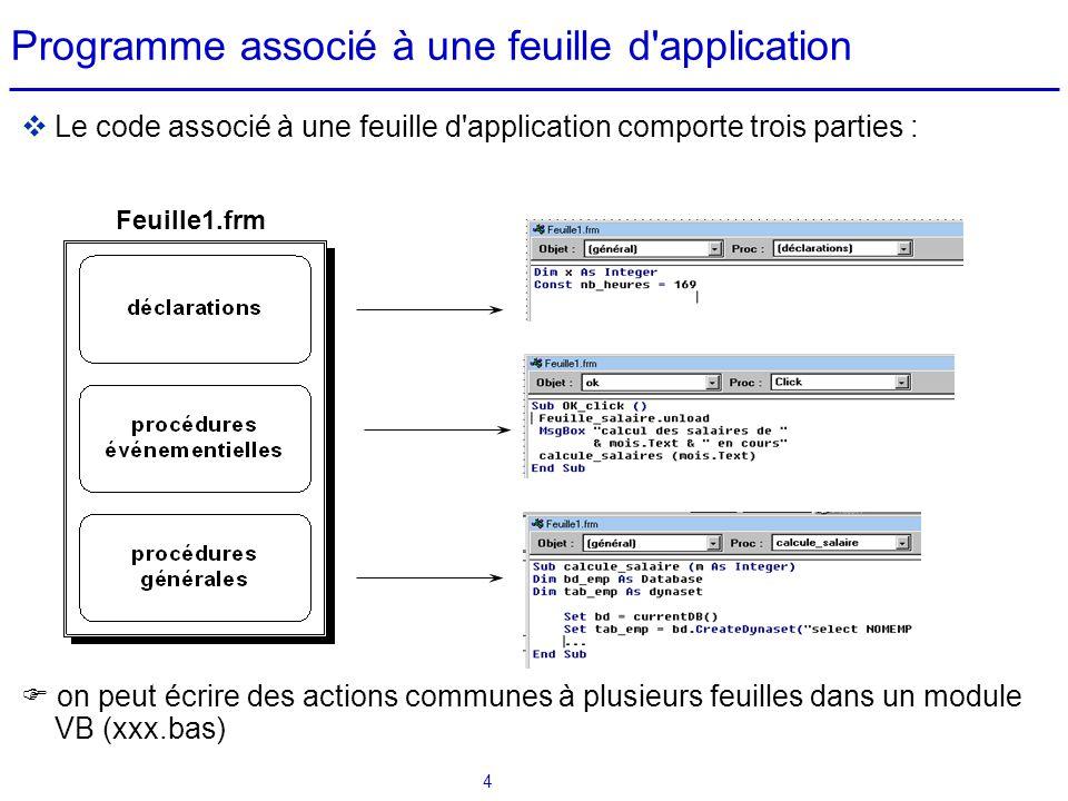 4 Programme associé à une feuille d'application  Le code associé à une feuille d'application comporte trois parties :  on peut écrire des actions co