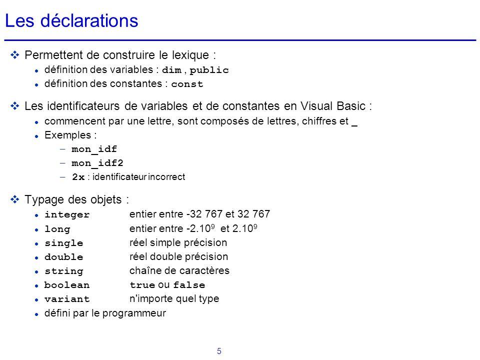 6 Déclarations: règles de visibilité des objets  Dans le lexique global (objet Général, onglet Déclarations) d'une feuille d'application ou d'un module VB: dim et const déclarent des objets existant dans la totalité de cette feuille ou de ce module  Dans une procédure ou une fonction d'une feuille d'application ou d'un module VB : dim et const déclarent des objets existant uniquement dans cette procédure ou fonction (déclaration locale)  Dans le lexique global (objet Général, onglet Déclarations) d'un module VB : Public déclare des objets existant dans tous les modules et les feuilles (déclaration globale)  Exemples de déclarations : dim i as integer Public const pi = 3.145927
