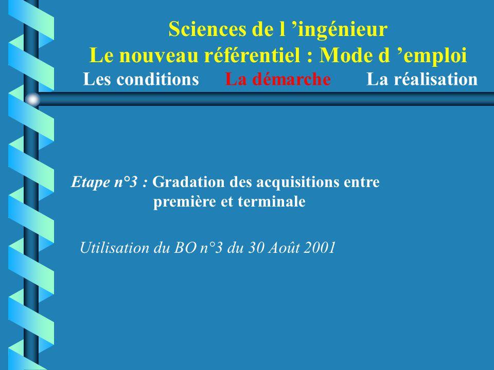 Sciences de l 'ingénieur Le nouveau référentiel : Mode d 'emploi Etape n°3 : Gradation des acquisitions entre première et terminale Utilisation du BO