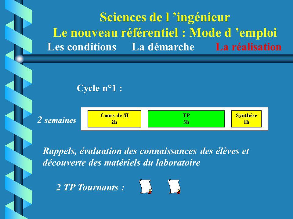 Sciences de l 'ingénieur Le nouveau référentiel : Mode d 'emploi Cycle n°1 : Rappels, évaluation des connaissances des élèves et découverte des matéri