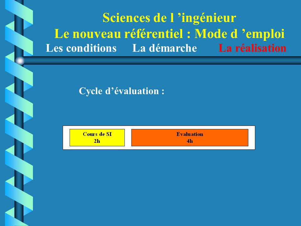 Sciences de l 'ingénieur Le nouveau référentiel : Mode d 'emploi Les conditions La démarche La réalisation Cycle d'évaluation :