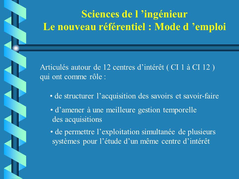 Sciences de l 'ingénieur Le nouveau référentiel : Mode d 'emploi Articulés autour de 12 centres d'intérêt ( CI 1 à CI 12 ) qui ont comme rôle : de str