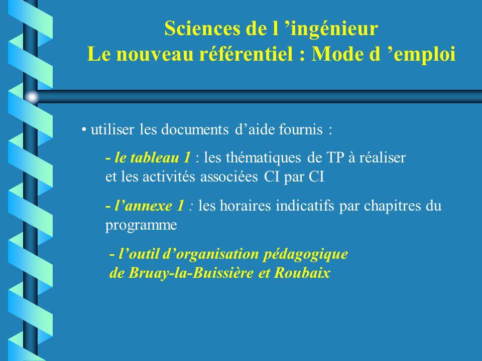 Sciences de l 'ingénieur Le nouveau référentiel : Mode d 'emploi utiliser les documents d'aide fournis : - le tableau 1 : les thématiques de TP à réal