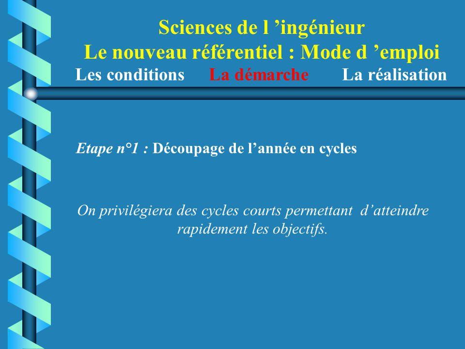 Sciences de l 'ingénieur Le nouveau référentiel : Mode d 'emploi Etape n°1 : Découpage de l'année en cycles Les conditions La démarche La réalisation