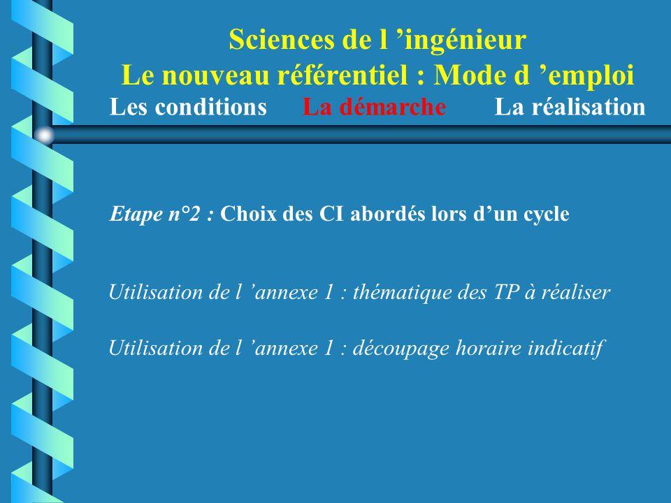 Sciences de l 'ingénieur Le nouveau référentiel : Mode d 'emploi Etape n°2 : Choix des CI abordés lors d'un cycle Utilisation de l 'annexe 1 : thémati