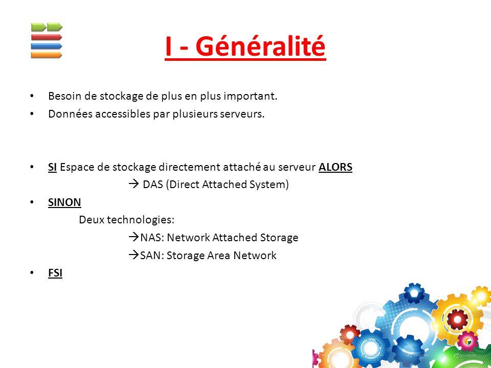 NAS: Network Attached Storage NAS : Serveur dédié au stockage de données.