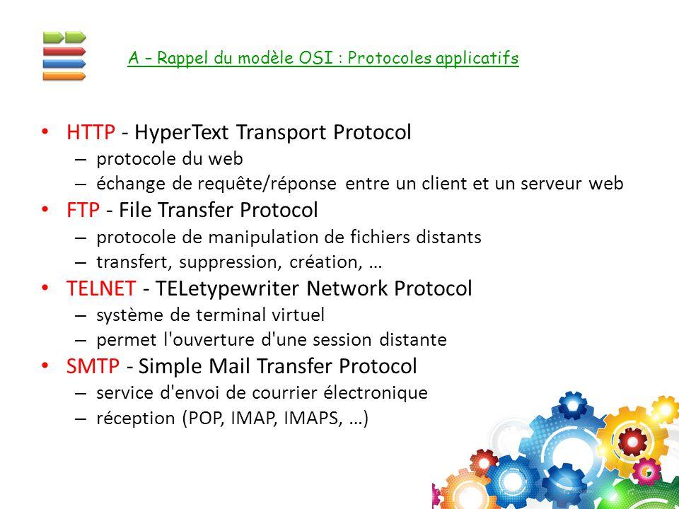 HTTP - HyperText Transport Protocol – protocole du web – échange de requête/réponse entre un client et un serveur web FTP - File Transfer Protocol – p