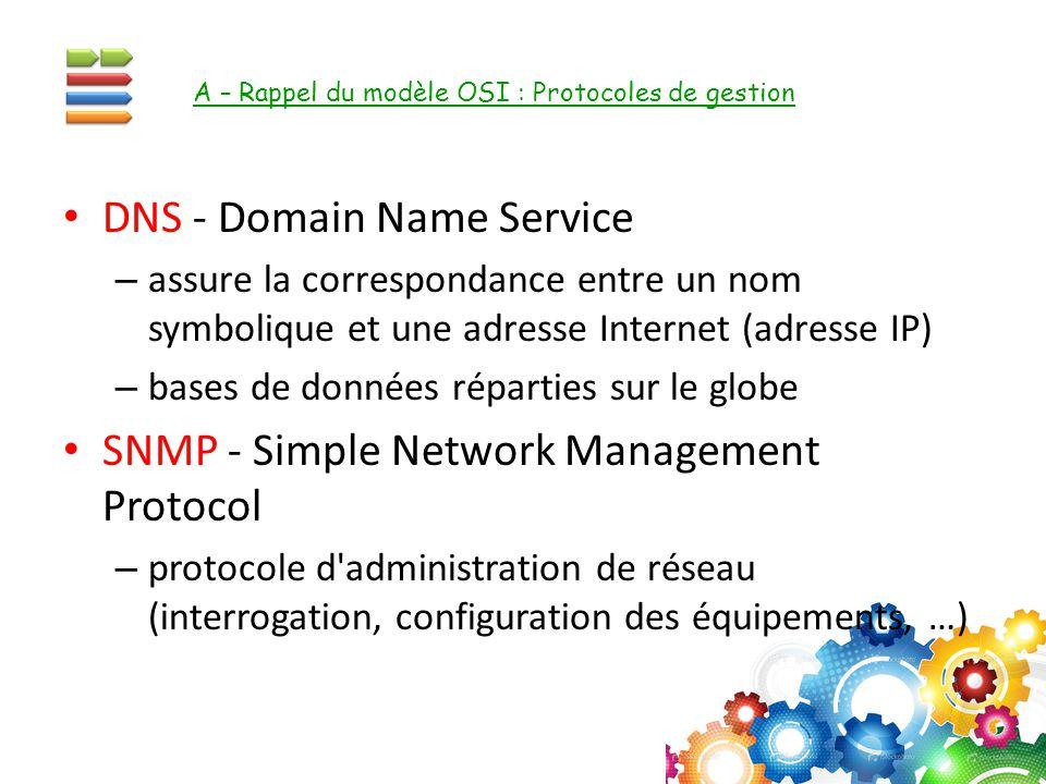 DNS - Domain Name Service – assure la correspondance entre un nom symbolique et une adresse Internet (adresse IP) – bases de données réparties sur le