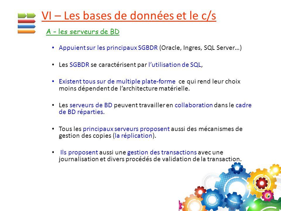 Appuient sur les principaux SGBDR (Oracle, Ingres, SQL Server…) Les SGBDR se caractérisent par l'utilisation de SQL, Existent tous sur de multiple pla
