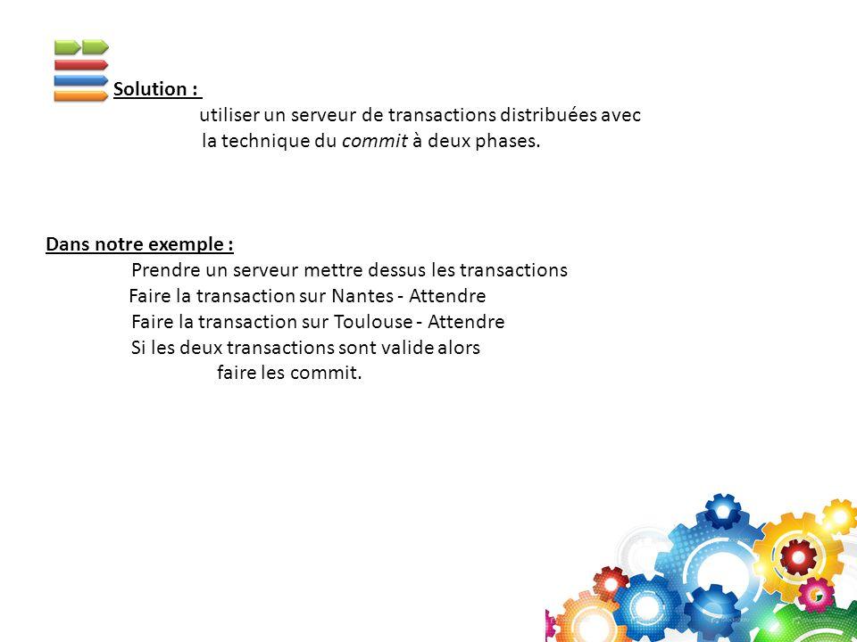 Solution : utiliser un serveur de transactions distribuées avec la technique du commit à deux phases. Dans notre exemple : Prendre un serveur mettre d