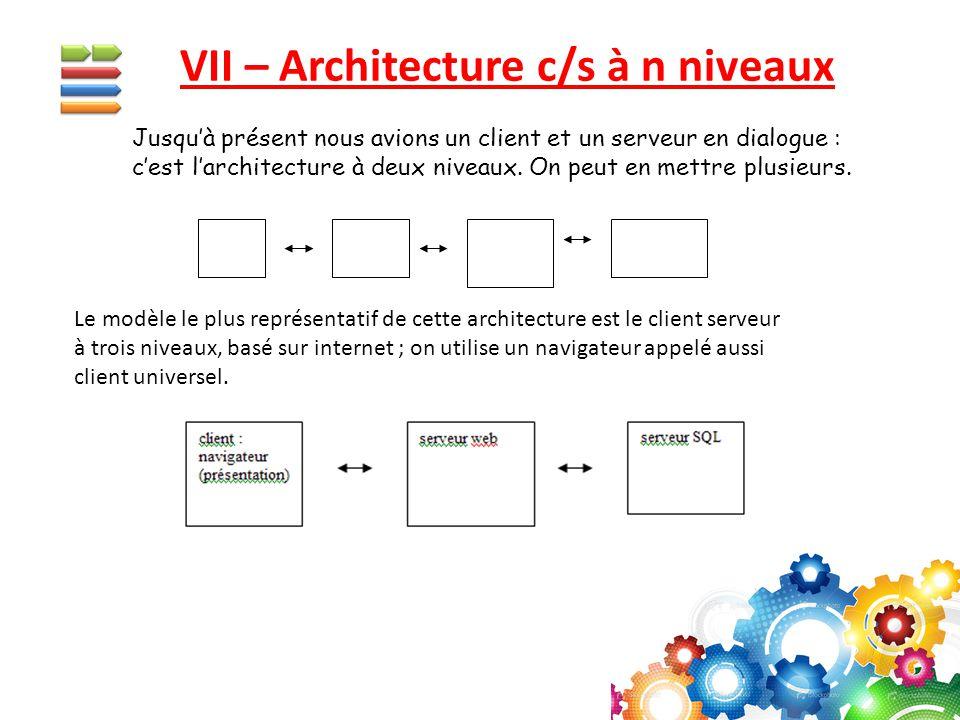 VII – Architecture c/s à n niveaux Jusqu'à présent nous avions un client et un serveur en dialogue : c'est l'architecture à deux niveaux. On peut en m