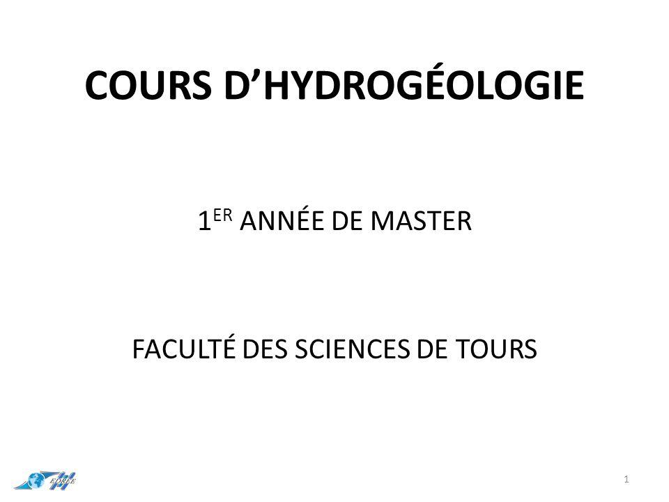 COURS D'HYDROGÉOLOGIE 1 ER ANNÉE DE MASTER FACULTÉ DES SCIENCES DE TOURS 1