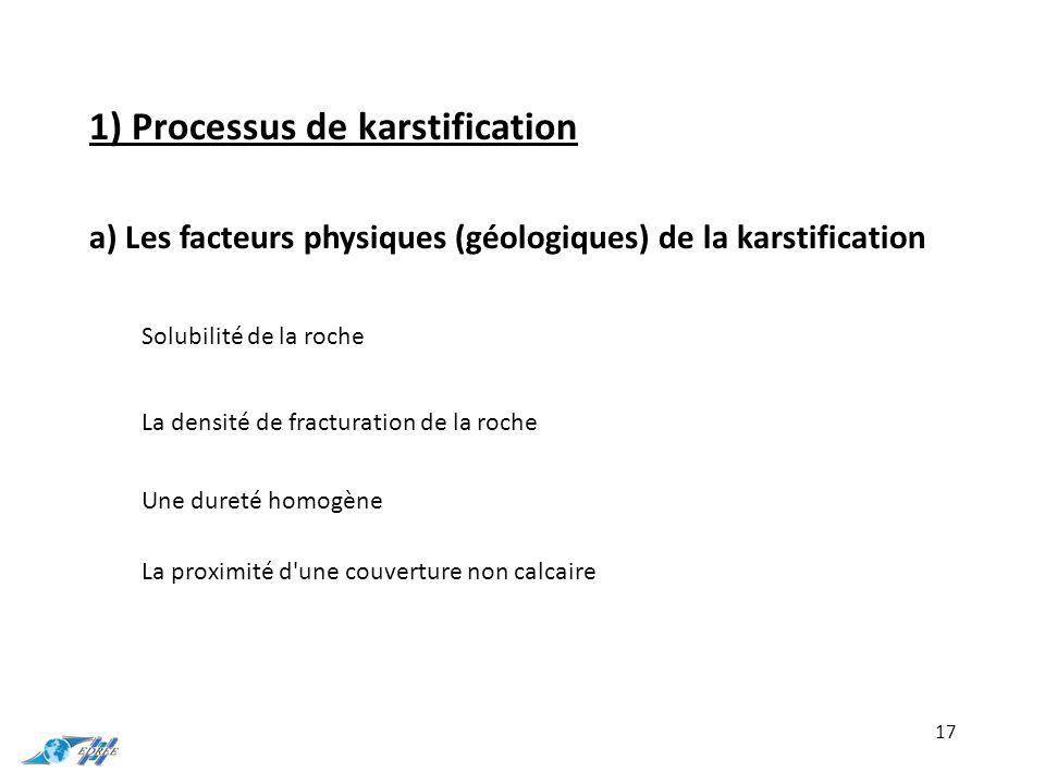 1) Processus de karstification a) Les facteurs physiques (géologiques) de la karstification 17 Solubilité de la roche La densité de fracturation de la