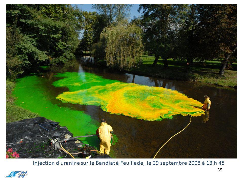 35 Injection d'uranine sur le Bandiat à Feuillade, le 29 septembre 2008 à 13 h 45