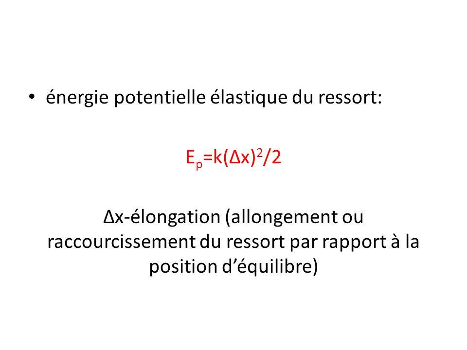 énergie potentielle élastique du ressort: E p =k(Δx) 2 /2 Δx-élongation (allongement ou raccourcissement du ressort par rapport à la position d'équili