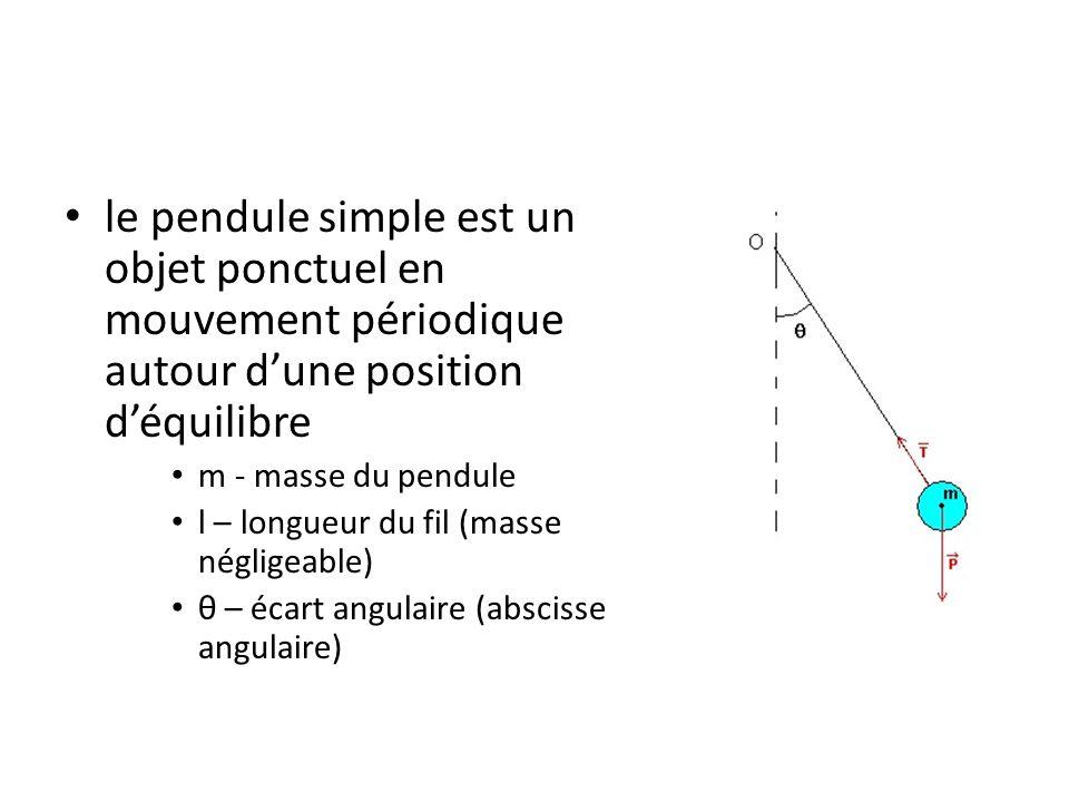 le pendule simple est un objet ponctuel en mouvement périodique autour d'une position d'équilibre m - masse du pendule l – longueur du fil (masse négl