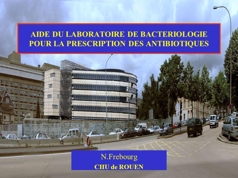 AIDE DU LABORATOIRE DE BACTERIOLOGIE POUR LA PRESCRIPTION DES ANTIBIOTIQUES N.Frebourg CHU de ROUEN