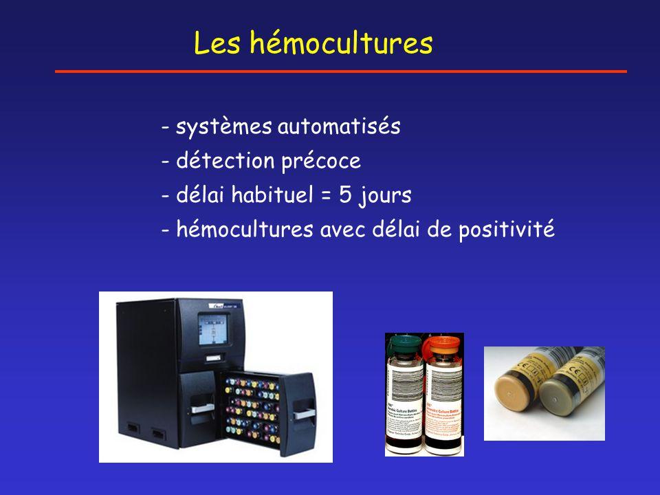 Les hémocultures - systèmes automatisés - détection précoce - délai habituel = 5 jours - hémocultures avec délai de positivité