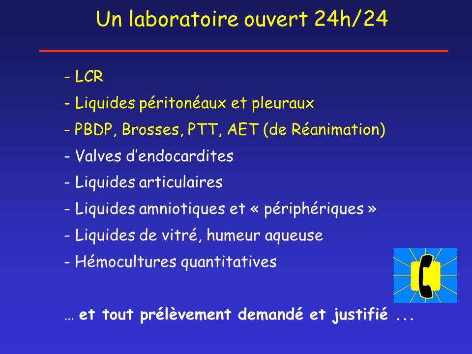 Un laboratoire ouvert 24h/24 - LCR - Liquides péritonéaux et pleuraux - PBDP, Brosses, PTT, AET (de Réanimation) - Valves d'endocardites - Liquides ar