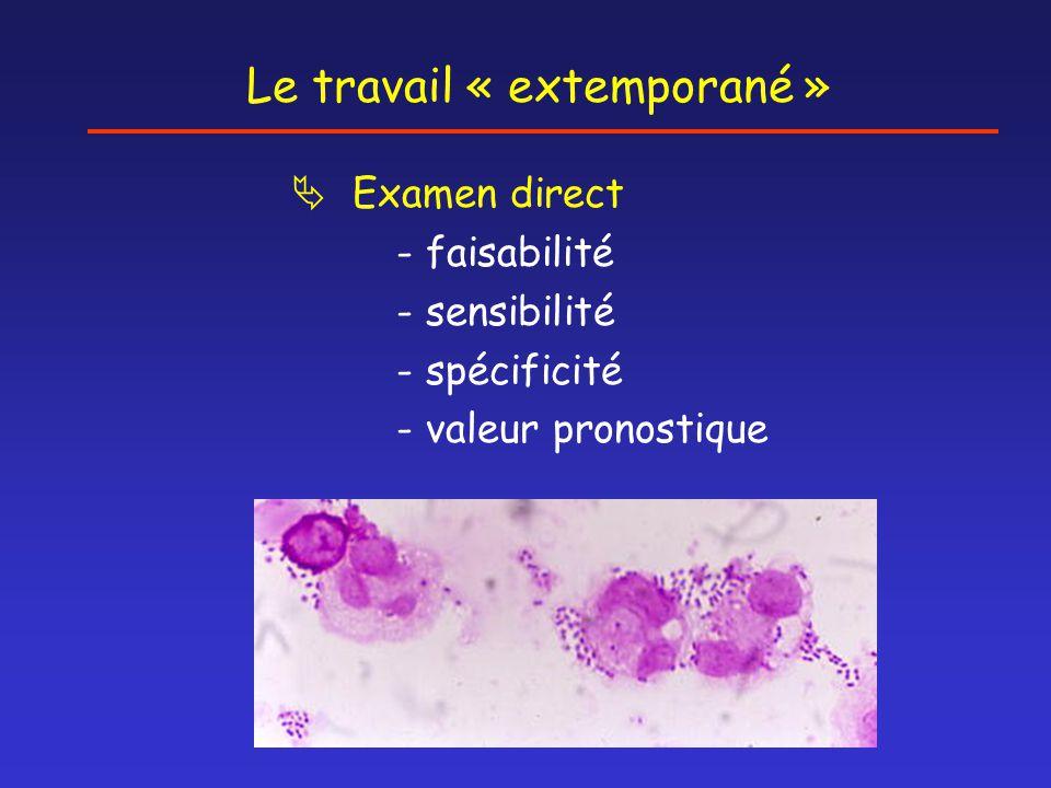 Le travail « extemporané »  Examen direct - faisabilité - sensibilité - spécificité - valeur pronostique