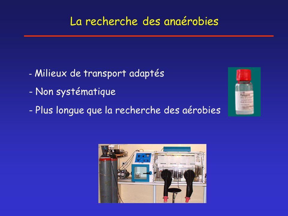 La recherche des anaérobies - Milieux de transport adaptés - Non systématique - Plus longue que la recherche des aérobies
