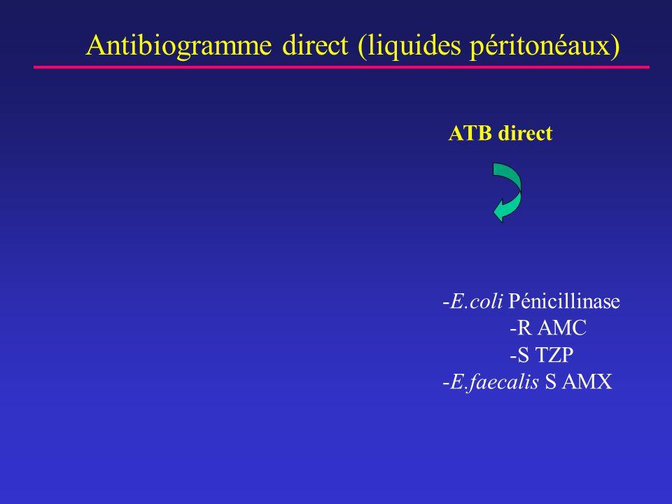 Antibiogramme direct (liquides péritonéaux) -E.coli Pénicillinase -R AMC -S TZP -E.faecalis S AMX ATB direct