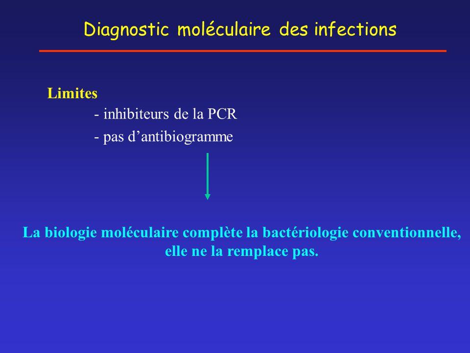 Diagnostic moléculaire des infections Limites - inhibiteurs de la PCR - pas d'antibiogramme La biologie moléculaire complète la bactériologie conventi