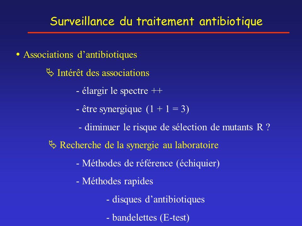 Surveillance du traitement antibiotique  Associations d'antibiotiques  Intérêt des associations - élargir le spectre ++ - être synergique (1 + 1 = 3