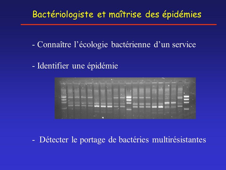Bactériologiste et maîtrise des épidémies - Connaître l'écologie bactérienne d'un service - Identifier une épidémie - Détecter le portage de bactéries