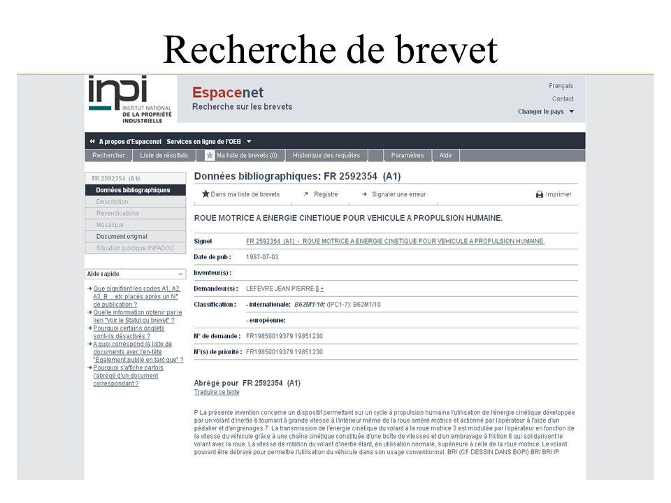 Recherche de brevet