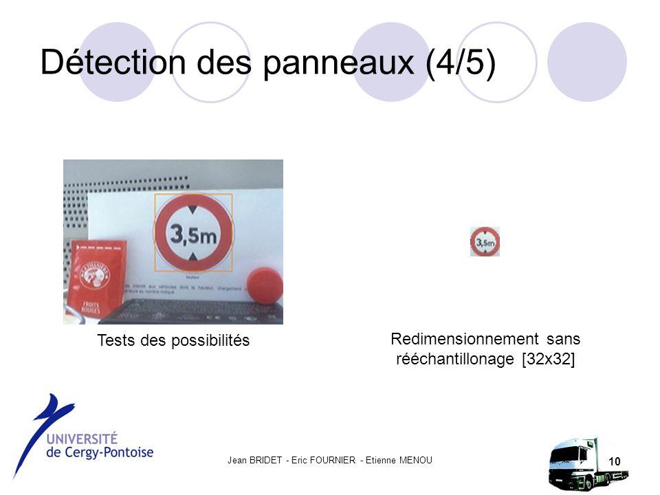 Jean BRIDET - Eric FOURNIER - Etienne MENOU 10 Détection des panneaux (4/5) Tests des possibilités Redimensionnement sans rééchantillonage [32x32]