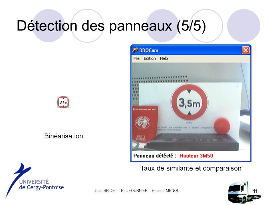 Jean BRIDET - Eric FOURNIER - Etienne MENOU 11 Détection des panneaux (5/5) Binéarisation Taux de similarité et comparaison
