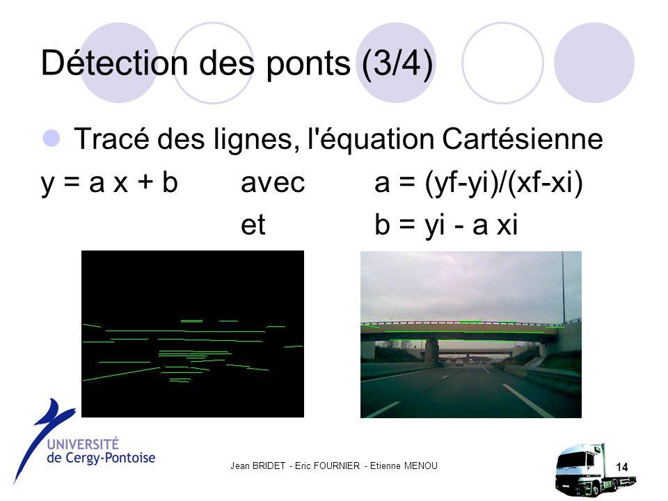 Jean BRIDET - Eric FOURNIER - Etienne MENOU 14 Détection des ponts (3/4) Tracé des lignes, l équation Cartésienne y = a x + b avec a = (yf-yi)/(xf-xi) et b = yi - a xi
