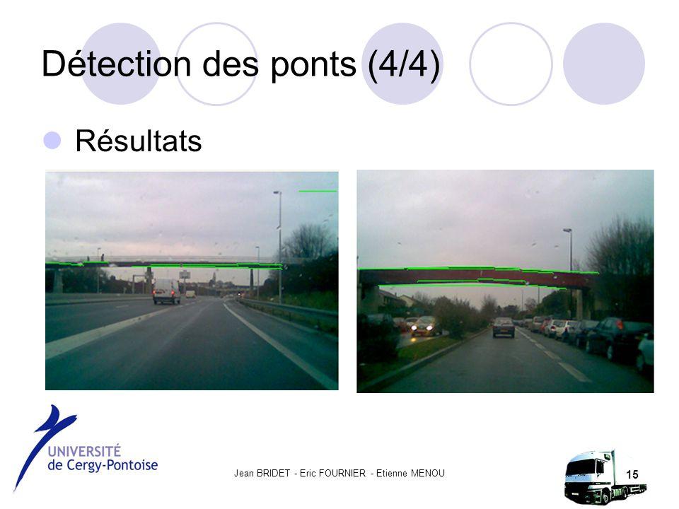 Jean BRIDET - Eric FOURNIER - Etienne MENOU 15 Détection des ponts (4/4) Résultats